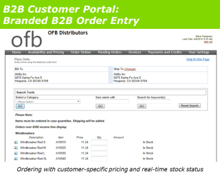 B2B Customer Portal Order Entry
