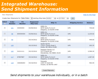 Integrated Warehouse New Shipments