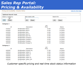 Sales Rep Portal Pricing and Availability